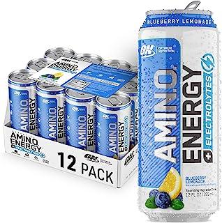 OPTIMUM NUTRITION ESSENTIAL AMINO ENERGY Plus Electrolytes Sparkling Hydration Drink, Blueberry Lemonade, 12 Count