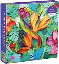 Galison Paper Paradise 拼图 500 片 20 英寸 x 20 英寸(约 50.8 厘米 x 50.8 厘米) – 色彩鲜艳的纸热带花朵和植物场景 – 具有挑战性,家庭乐趣 – 有趣的室内活动