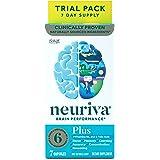 NEURIVA Plus 大脑支持补充剂 (一瓶7粒),包含B6,B12和叶酸,支持6种脑表现指标:专注力、熟记能力、学…
