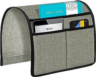 Joywell 沙发扶手收纳架,3 个口袋的沙发和椅子臂上的遥控器,适用于电视遥控器,杂志,书籍,手机,iPad,浅灰色