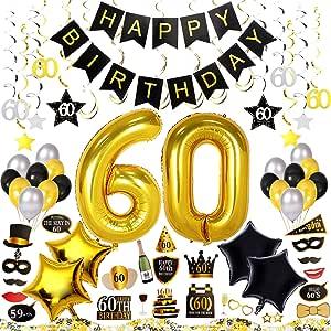 AHAYA 60 岁生日装饰套装 70 件,C 生日快乐横幅,40 英寸 60 金气球,闪闪发光的悬挂漩涡,照片亭道具,桌子装饰五彩纸屑,生日计划清单 60th Birthday Decorations 79 Pieces