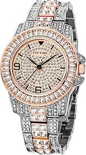 奢华时尚男式水晶手表女士中性款闪亮冰晶手表透明方晶锆石钻石手链正装手表钟表适合嘻哈说唱歌手