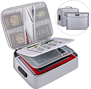 ENGPOW 文件收纳袋,防火文件收纳包带钱袋,家庭办公室旅行*袋带锁,多层便携式文件存放重要文件护照证书