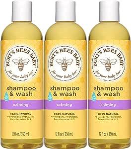 Burt's Bees 婴儿洗发水洗发精,温和不刺激婴儿香皂-12盎司/瓶(约340.19克),3瓶,350毫升