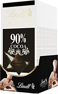 Lindt 瑞士莲 Excellence 90%可可至尊黑巧克力,无麸质,特别适合用作节日礼物,3.5盎司,40克(12包)