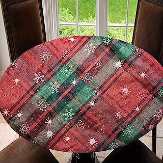 SUPNON 户外桌布防水防溢涤纶桌布圣诞红色和*桌布适用于庭院花园桌面装饰 SW141562 适合51-55英寸(约129.5-139.7厘米)桌子