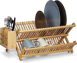Relaxdays Cross Dish Drainer 带餐具篮,总尺寸:24 x 46 x 28 厘米 竹餐具架木制洗碗机 可折叠式大型盘子和杯子 w/Silverware 支架,自然棕色