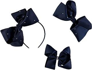 French Toast 儿童校服蝴蝶结发夹和发带,3 件装,*蓝和白色,均码
