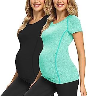 GLAMIX 女式孕妇活动上衣短袖/无袖锻炼运动孕妇衬衫