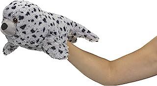 Eco Pals Harbor Seal Puppet by Wildlife Artist,填充动物毛绒玩具木偶 14 英寸,环保,刺绣*和鼻子,由 * 消费后和再生材料制成