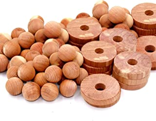 Cedar Home 雪松块用于衣服存储 | 雪松球和雪松环 | 除尘剂和壁橱清新剂 | 40 件,30 个雪松环和 10 个雪松球