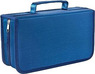 Vicoter CD 保护套 128 容量 CD/DVD 钱包活页夹,DVD 盒便携式拉链 CD 盒,CD 盒存储架,CD 小册子活页夹,VCD 钱包收纳袋,适用于家庭汽车旅行办公室(蓝色)
