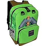 JINX Minecraft Pickaxe 冒险儿童背包(绿色,43.18 厘米)适合学校、露营、旅行、户外和娱乐(绿…