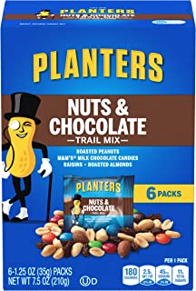 Planters Trail Mix, Nuts & Chocolate M&M's, 7.5 Ounce Bags (Pack of 6)