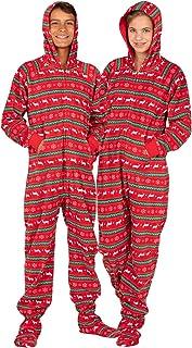 连脚睡衣 - 儿童羊毛连帽衫连体衣 | 一件式睡衣连身衣适合男孩和女孩睡衣套装 | 中性款