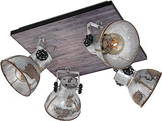 EGLO 49653 Barnstick,4 盏聚光灯,木和钢,E27,40W,棕色铜黑色