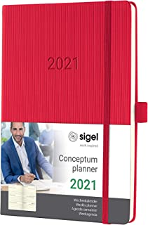 SIGEL C2164 周记日记 2021,约 A5,精装,红色 - Conceptum