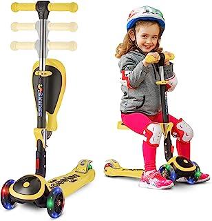S SKIDEE 儿童滑板车,带折叠/可拆卸座椅 - 可调节高度,3 个 LED 灯轮,3 轮踢踏板车,男女宝宝适用 Scooter 黄色 SRYELLOW-SP2