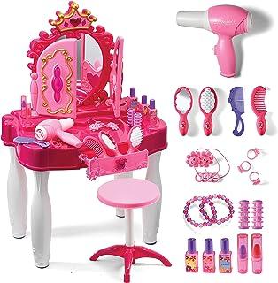 Play22 装扮游戏女孩梳妆台套装带镜子和凳子 20 件 - 儿童化妆梳妆台套装带灯光和声音 - 儿童*沙龙套装包括时尚*和化妆配件和吹风机