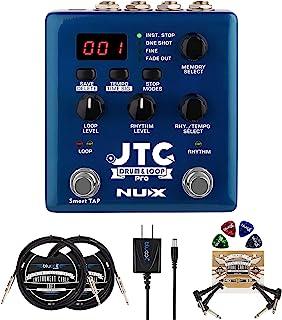 NUX JTC PRO Drum Loop PRO 双开关环脚踏板套装,配有 Blucoil Slim 9V 电源交流适配器,2 x 10 英寸(约 2.5 厘米)直线乐器电缆(1/4 英寸(约 0.6 厘米)),2 x 插线电缆和 4 个吉他拨片