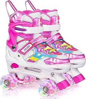 女童和男孩溜冰鞋,4 种尺寸可调节儿童幼儿溜冰鞋,带发光轮子,适合幼儿,室内室外