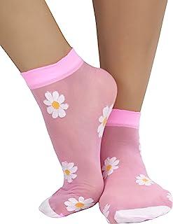 ToBeInStyle 女式花朵設計透明腳踝