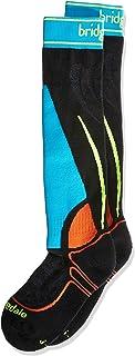 Bridgedale 滑雪青少年赛车袜,黑色/多色,均码