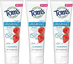 Tom's of Maine 无氟儿童牙膏,天然牙膏,草莓味,5.1盎司/144克,3件装
