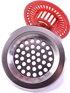 202057 不锈钢金属水槽排水过滤器 3 英寸(约 7.6 厘米) + 塑料过滤器 2.4 英寸(约 6.1 厘米)礼物 – 厨房水槽过滤器 – 淋浴和浴室毛发收集器 – 地漏塞 – 穿孔筛