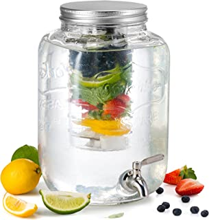 KooK 玻璃饮料分配器,带水果和冰壶和不锈钢Spigot,2 加仑