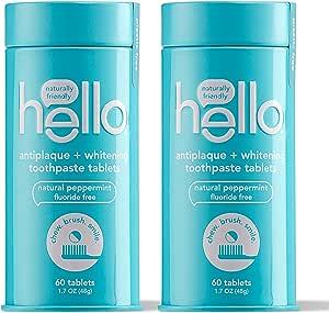 Hello Antiplaque + *牙膏片,温和去除表面污渍,美味农场新鲜薄荷,无氟,2 个塑料,旅行友好,可重复使用的金属容器,120 片