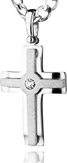 STERLL 男士项链实心 925 标准纯银十字架吊坠带施华洛世奇元素,是送给丈夫或男友的完美礼物