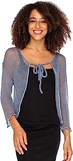Back From Bali 女士透明披肩开衫短款短上衣夹克轻质针织带领带