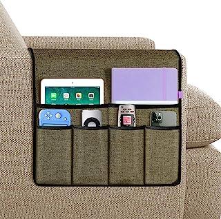 Joywell 沙发扶手收纳架,6 个口袋的沙发和椅子臂上的遥控器,适用于电视遥控器,杂志,书籍,手机,iPad,浅巧克力色
