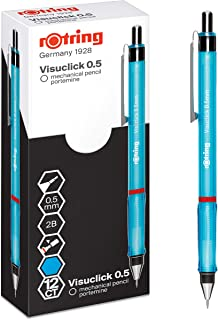 rOtring Visuclick 机械铅笔 | 0.5 毫米 | 2B 铅笔 | 活泼蓝色笔筒 | 12 支