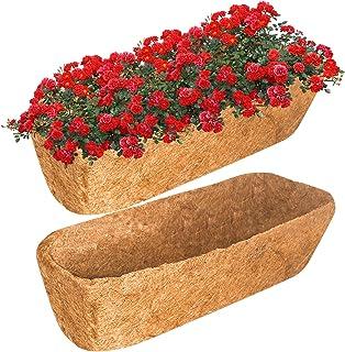 Legigo 2 件 24 英寸(约 61.9 厘米)槽式Coco 替换衬垫,天然椰子椰壳纤维花盆,透气植物篮,24 英寸(约 61.9 厘米)窗台预成型替换件,窗户盒,篮式花盆,花园