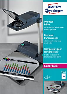 AVERY Zweckform 3559 投影胶片,适用于彩色激光打印机(50 张透明膜,A4,特殊涂层,可堆叠,短边可拆卸传感器条,薄膜厚度 0.10 毫米)
