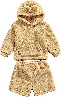 2 件新生儿卡通熊雪服羊毛毛绒耳朵连帽衫和短裤秋冬衣服套装