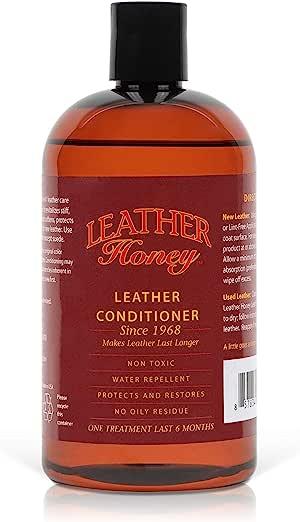皮革蜂蜜皮革护发素,自 1968 年以来的*佳皮革护发素,用于皮革服装、家具、汽车内饰、鞋子、包和配件。 16盎司 LHPT1001