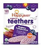 Happy Baby 温和牙胶磨牙威化饼,蓝莓和紫色胡萝卜,12件(6包)(包装可能有所不同)