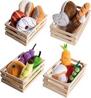 roba 玩具食品,4 个篮子,带配件,适用于商店模型玩具和儿童厨房,多色
