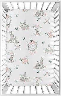 Sweet Jojo Designs 腮红粉色和灰色丛林波西米亚捕梦箭灰色兔子花卉婴儿女婴幼儿育儿床迷你便携婴儿床床单 - 水彩玫瑰花