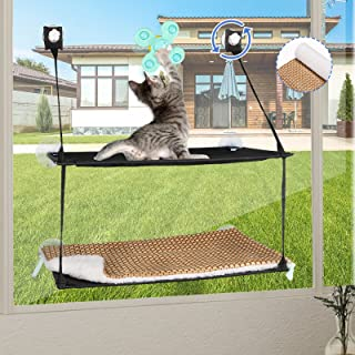 Pet Loving 猫窗吊床双层,猫窗栖息地猫床窗口双层叠层,阳光窗口座椅空间适用于毛毯/垫子和玩具,适合春夏