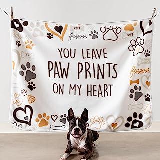 "iHeartDogs 狗毯 - ""You Leave Paw Prints on My Heart""超软羊毛毯 - 购买一件,我们给一只需要帮助的庇护狗送一个 - 40 x 30 英寸(约 101.6 x 76.2 厘米)"
