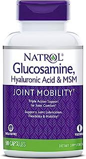 Natrol 透明质酸、MSM和氨基葡萄糖素食胶囊,90粒(2瓶装)