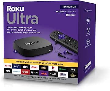Roku Ultra 2020 | 流媒体播放器 HD/4K/HDR/Dolby Vision,杜比全景声,蓝牙和Roku语音遥控器,耳机插孔和个人快捷键,包括高级 HDMI 电缆