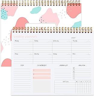 每周计划本 - 无日期螺旋规划笔记本,每周膳食策划和杂货清单,习惯跟踪器,A5 待办事项列表组织者书 9.5 x 7.8 英寸(约 24.1 x 19.8 厘米) - 弹性封面,强力双线装订,Morandi 粉色