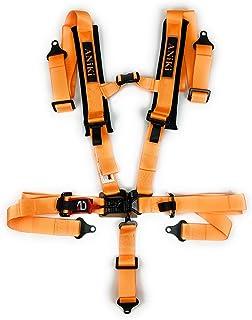 Aniki 高性能 5.08 厘米 5 点式通用赛车座椅锁和连接*带,3 英寸(约 7.62 厘米)宽和 1 英寸(约 2.54 厘米)厚肩垫 - 适用于沙色运动车辆、多用途车、卡车、卡丁车、越野汽车 - 橙色