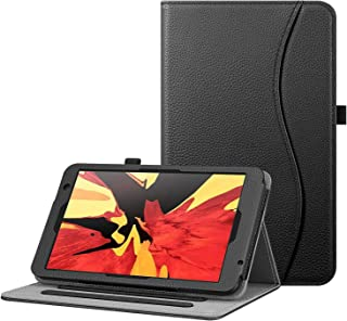 Fintie 保护套,适用于 Vankyo MatrixPad S8 平板电脑 8 英寸(约 20.3 厘米)/Dragon Touch Notepad Y80 - [免提] 多角度查看对开智能支架保护套,带口袋,铅笔支架(黑色)
