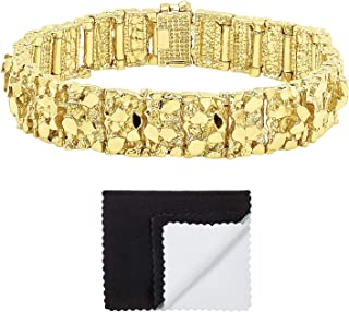 Thick 15mm 14k Gold Plated Large Chunky Nugget Textured Link Bracelet + Microfiber Jewelry Polishing Cloth